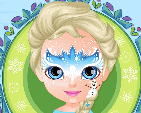 baby barbie frozen face painting0